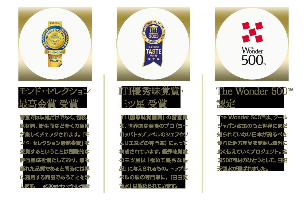 「モンド・セレクション最高金賞受賞」審査では味覚だけでなく、包装、原材料、衛生面など多くの項目が厳しくチェックされます。「モンド・セレクション最高金賞」を受賞するということは国際的な評価基準を満たしており、最も優れた品質であると同時に世界に通用する商品であることを示します。※500mlペットボトルで受賞「ITI優秀味覚賞・三ツ星受賞」ITI(国際味覚機関)の審査員は、世界的な美食のプロ(ヨーロッパトップレベルのシェフやソムリエなどの専門家)によって構成されています。優秀味覚賞の三ツ星は「極めて優秀な製品」に与えられるもの。トップレベルの味の専門家に、「日田天領水」は認められています。「The Wonder 500(TM)認定」The Wonder 500(TM)は、クールジャパン政策のもと世界にまだ知られていない日本が誇るべき優れた地方産品を発掘し海外に広く伝えていくプロジェクト。全国500商材のひとつとして、日田天領水が選ばれました。